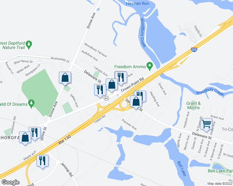 map of restaurants, bars, coffee shops, grocery stores, and more near Crown Point Rd & Delaware St in West Deptford