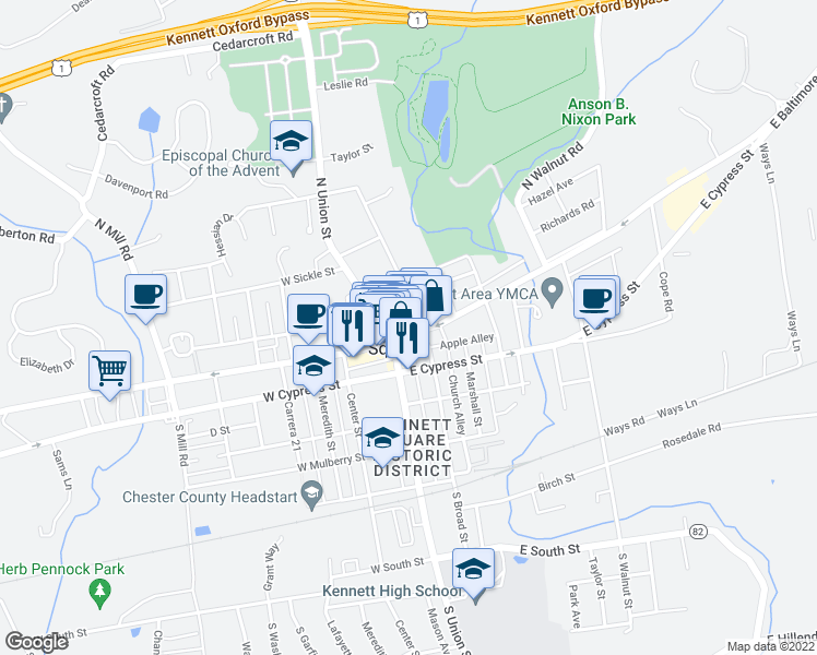 map of restaurants, bars, coffee shops, grocery stores, and more near 127 East State Street in Kennett Square