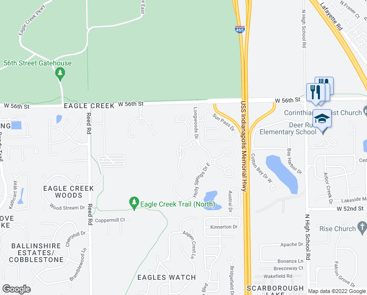 map of restaurants, bars, coffee shops, grocery stores, and more near 5438 Holly Springs Drive West in Indianapolis