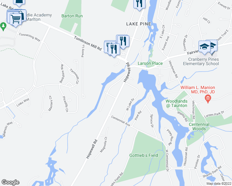 map of restaurants, bars, coffee shops, grocery stores, and more near 268 Hopewell Road in Medford