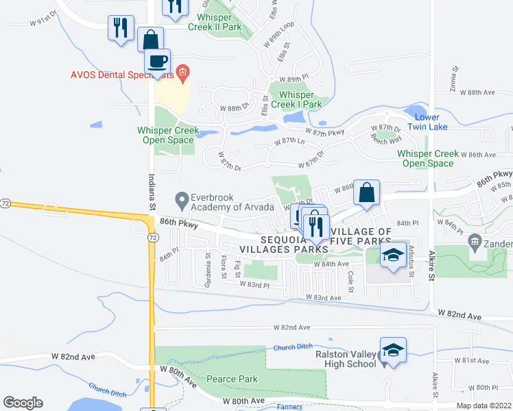 map of restaurants, bars, coffee shops, grocery stores, and more near 14064 West 86th Drive in Arvada