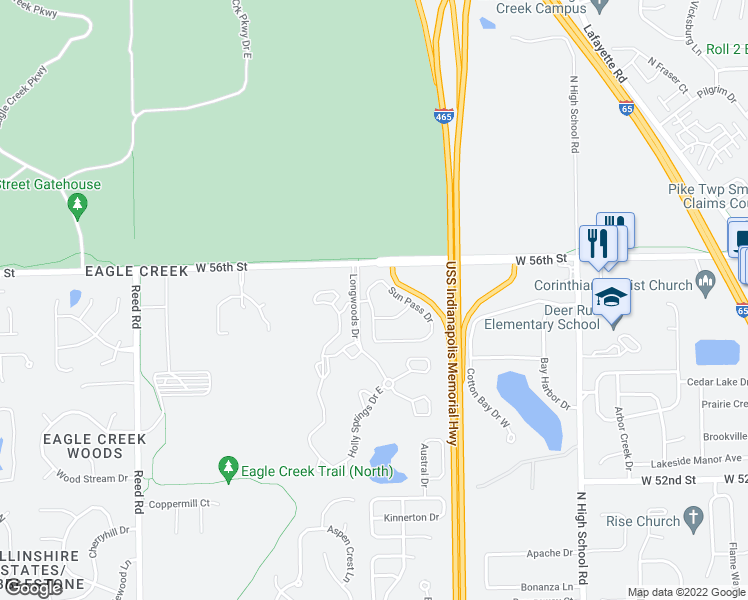 map of restaurants, bars, coffee shops, grocery stores, and more near 5525 Elkhorn Drive in Indianapolis