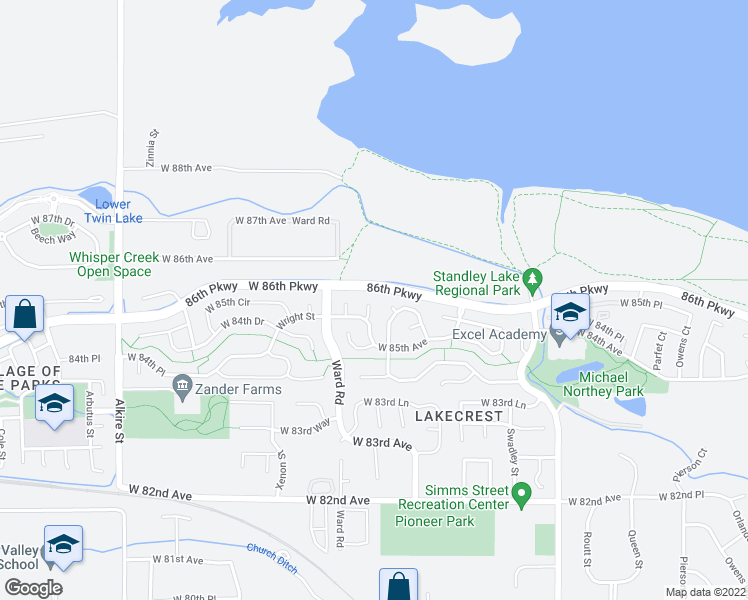 map of restaurants, bars, coffee shops, grocery stores, and more near 8550 Van Gordon Court in Arvada