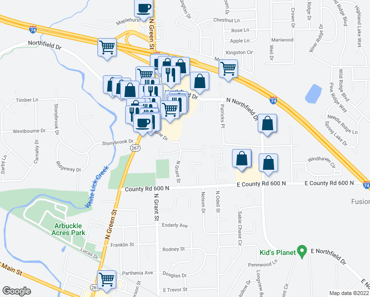 map of restaurants, bars, coffee shops, grocery stores, and more near 727 Greenridge Parkway in Brownsburg