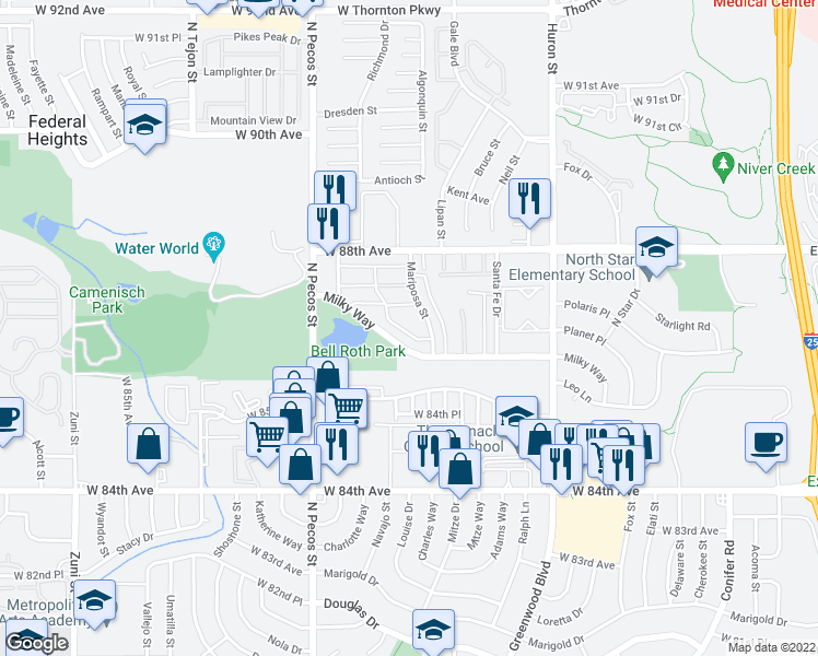 map of restaurants, bars, coffee shops, grocery stores, and more near 8675 Mariposa St in Thornton