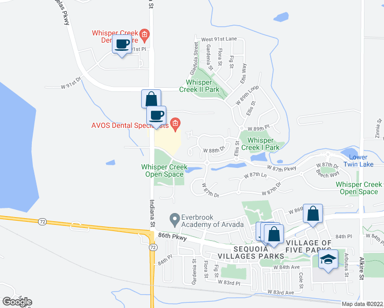 map of restaurants, bars, coffee shops, grocery stores, and more near 14214 West 88th Drive in Arvada