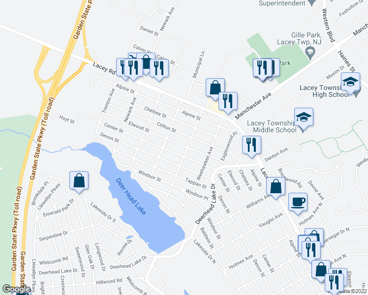 map of restaurants, bars, coffee shops, grocery stores, and more near 640 Fairview Lane in Lacey Township