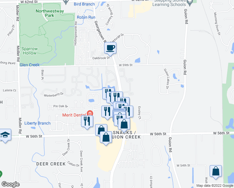 map of restaurants, bars, coffee shops, grocery stores, and more near 5756 Cross Creek Drive in Indianapolis