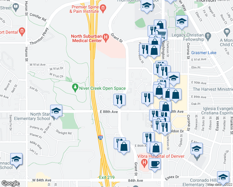 map of restaurants, bars, coffee shops, grocery stores, and more near 8901 Grant Street in Denver