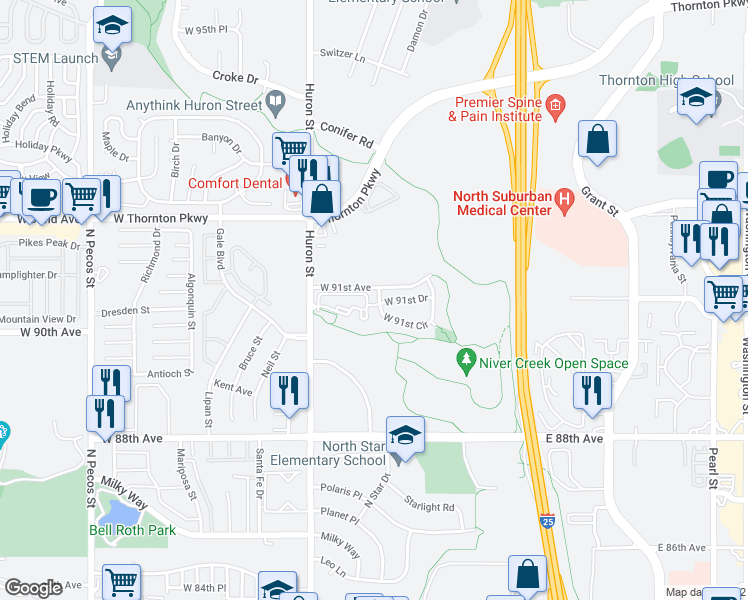 map of restaurants, bars, coffee shops, grocery stores, and more near 700 West 91st Avenue in Thornton