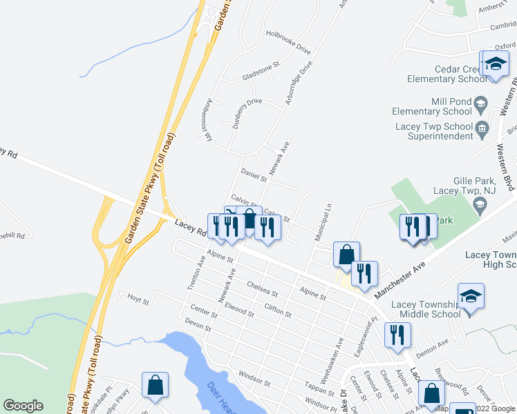 map of restaurants, bars, coffee shops, grocery stores, and more near 1012 Calvin Street in Lacey Township