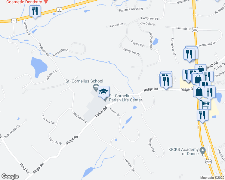 map of restaurants, bars, coffee shops, grocery stores, and more near 15 Coopers Hawk Lane in Chadds Ford