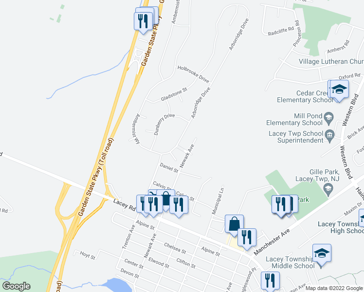 map of restaurants, bars, coffee shops, grocery stores, and more near Dunberry Drive in Lacey Township