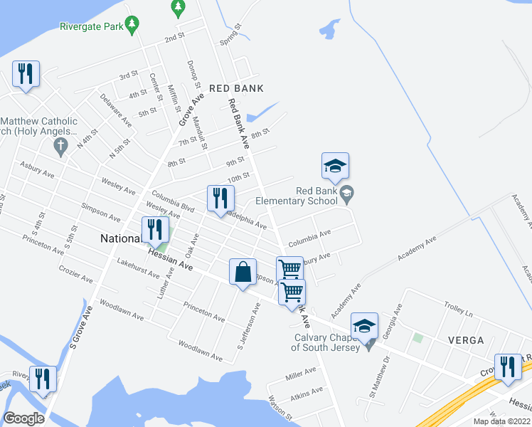 map of restaurants, bars, coffee shops, grocery stores, and more near 701 Red Bank Avenue in West Deptford