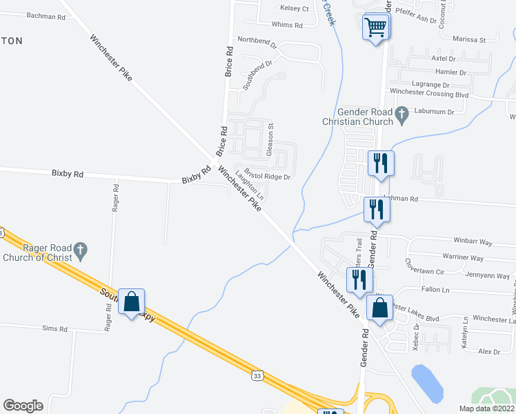 map of restaurants, bars, coffee shops, grocery stores, and more near Winchester Pike in Canal Winchester