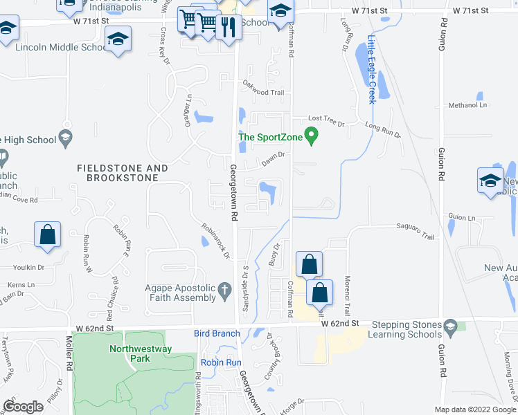 map of restaurants, bars, coffee shops, grocery stores, and more near 6426 Excalibur Court in Indianapolis