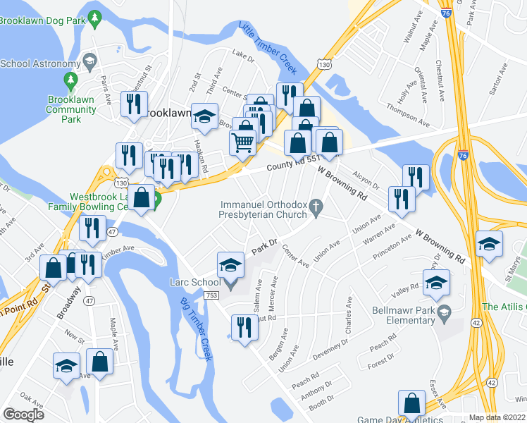 map of restaurants, bars, coffee shops, grocery stores, and more near Catherine Avenue in Bellmawr