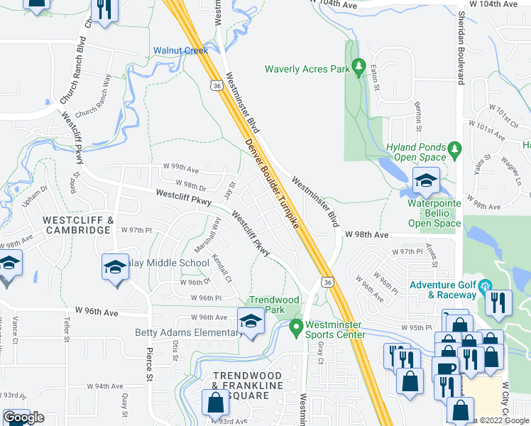 map of restaurants, bars, coffee shops, grocery stores, and more near 9820 Westcliff Parkway in Westminster