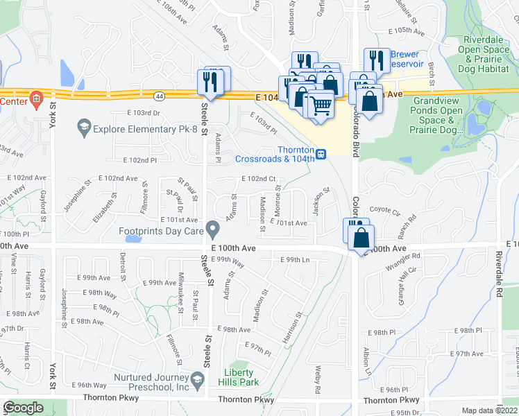 map of restaurants, bars, coffee shops, grocery stores, and more near 1120 East 95th Avenue in Thornton