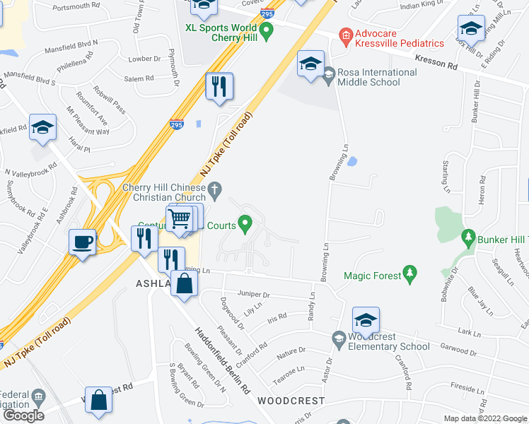 map of restaurants, bars, coffee shops, grocery stores, and more near 483 Brittany Lane in Cherry Hill
