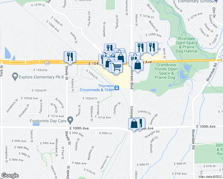 map of restaurants, bars, coffee shops, grocery stores, and more near 3650 East 103rd Circle in Thornton