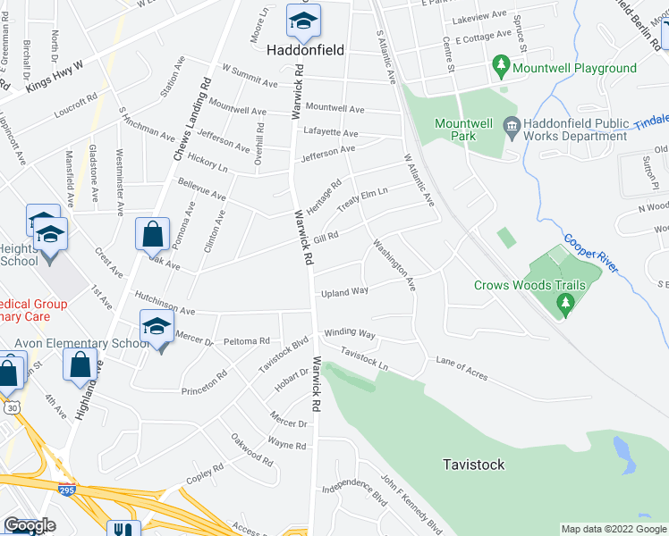 map of restaurants, bars, coffee shops, grocery stores, and more near 120 Glenwood Road in Haddonfield