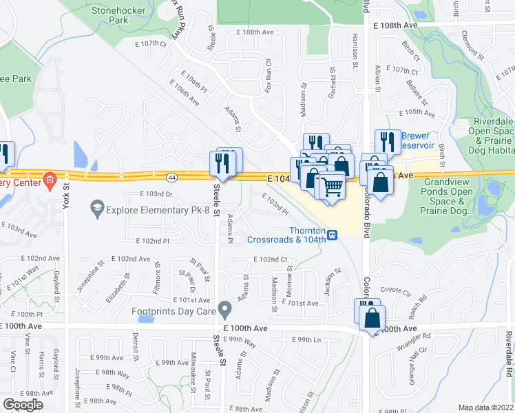 map of restaurants, bars, coffee shops, grocery stores, and more near 10393 Cook Way in Thornton