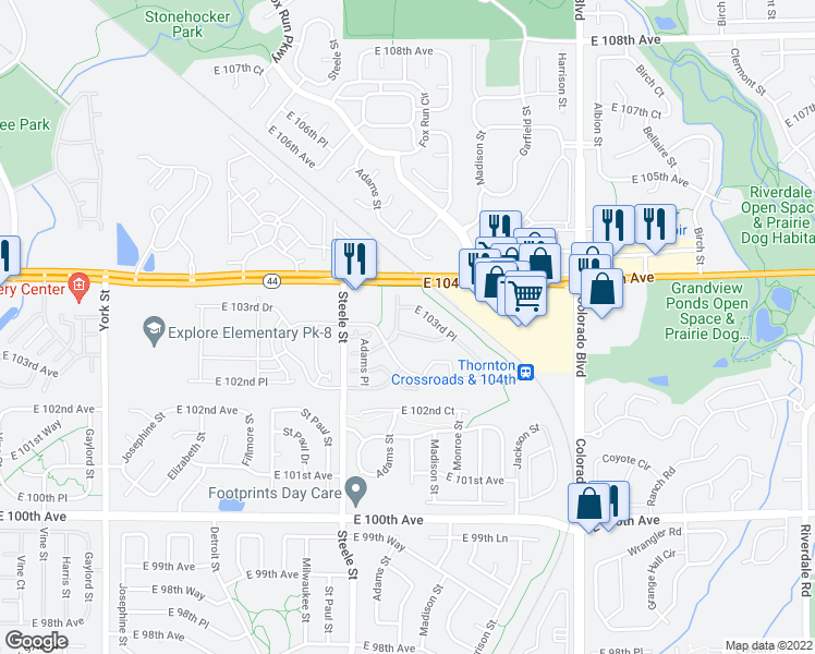 map of restaurants, bars, coffee shops, grocery stores, and more near 10383-10393 Cook Way in Thornton