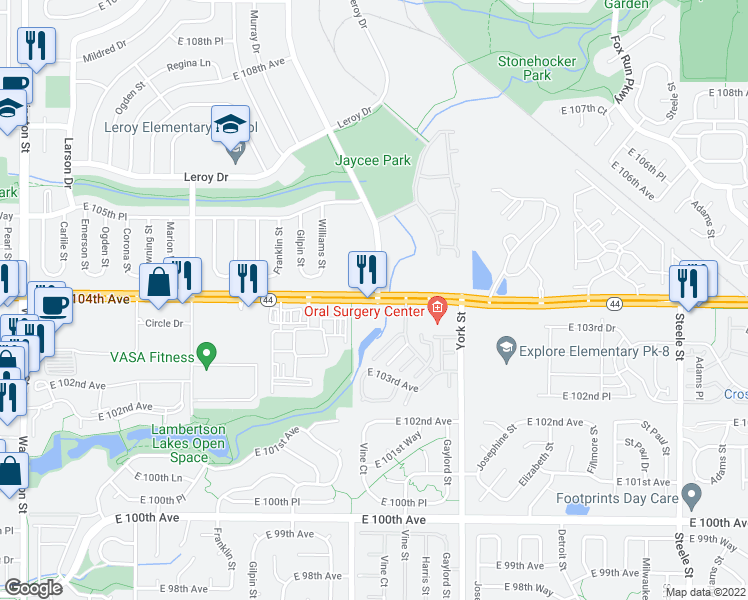 map of restaurants, bars, coffee shops, grocery stores, and more near 10425 Irma Drive in Northglenn