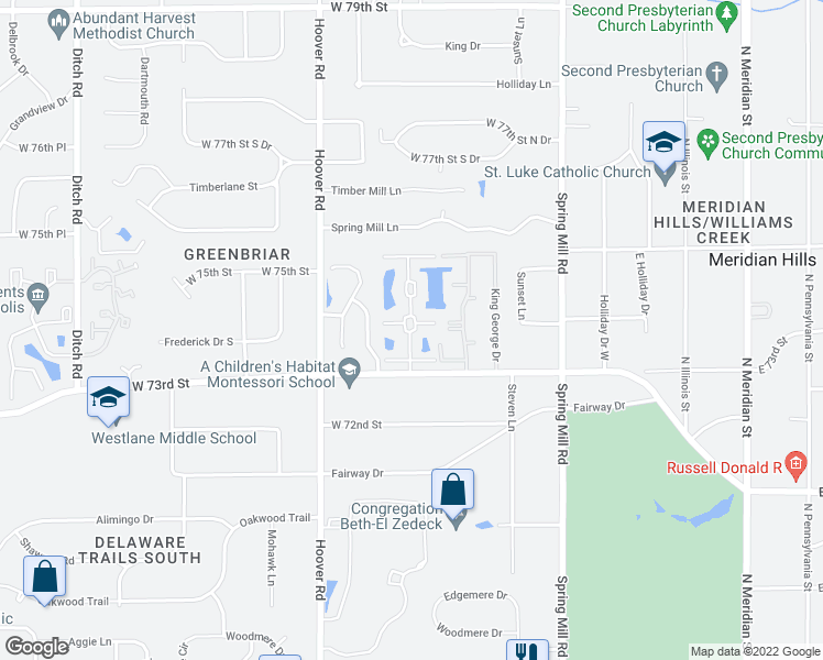 map of restaurants, bars, coffee shops, grocery stores, and more near 7344 Meridian Hills Court in Indianapolis
