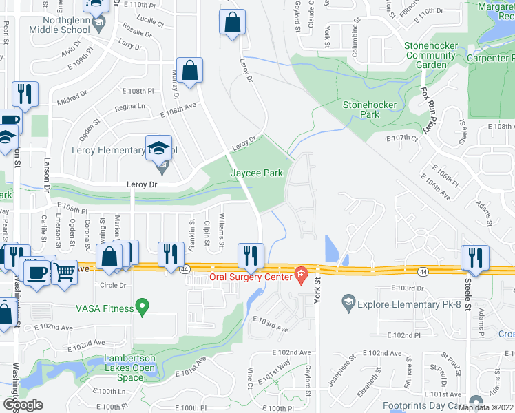 map of restaurants, bars, coffee shops, grocery stores, and more near 10529 Irma Drive in Northglenn