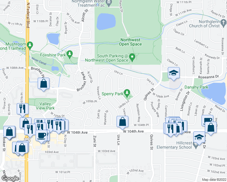 map of restaurants, bars, coffee shops, grocery stores, and more near 10644 Tancred Street in Northglenn