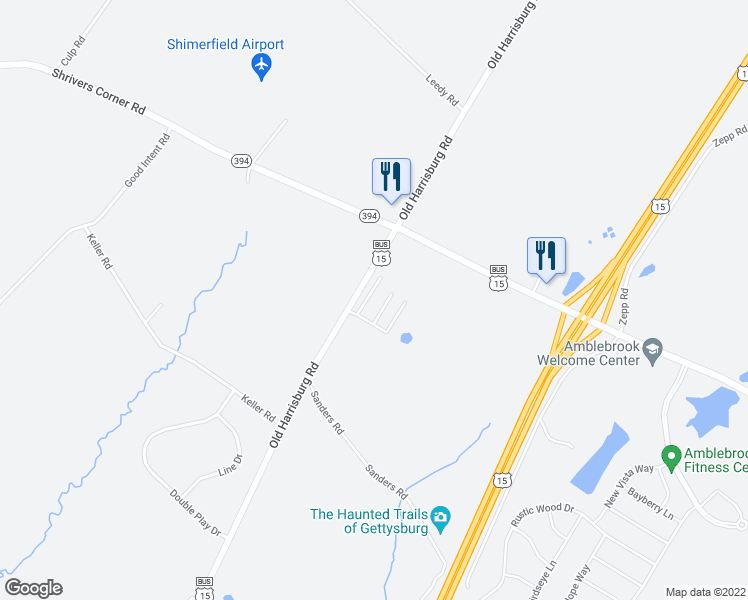 map of restaurants, bars, coffee shops, grocery stores, and more near 2581 Old Harrisburg Road in Gettysburg