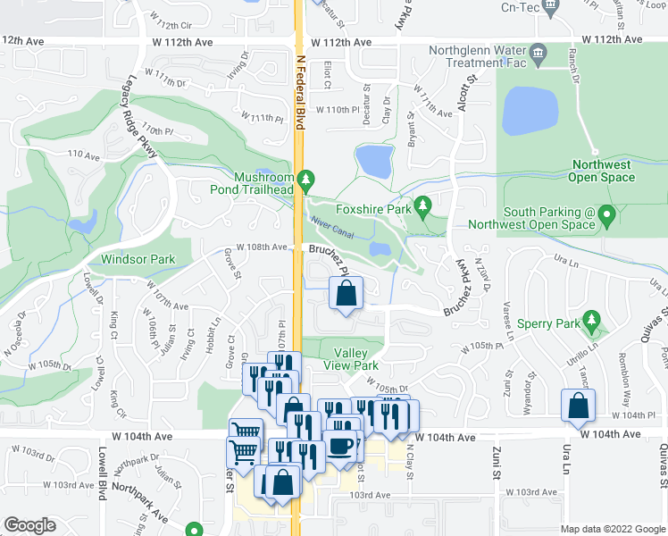 map of restaurants, bars, coffee shops, grocery stores, and more near 10730 Eliot Circle in Denver