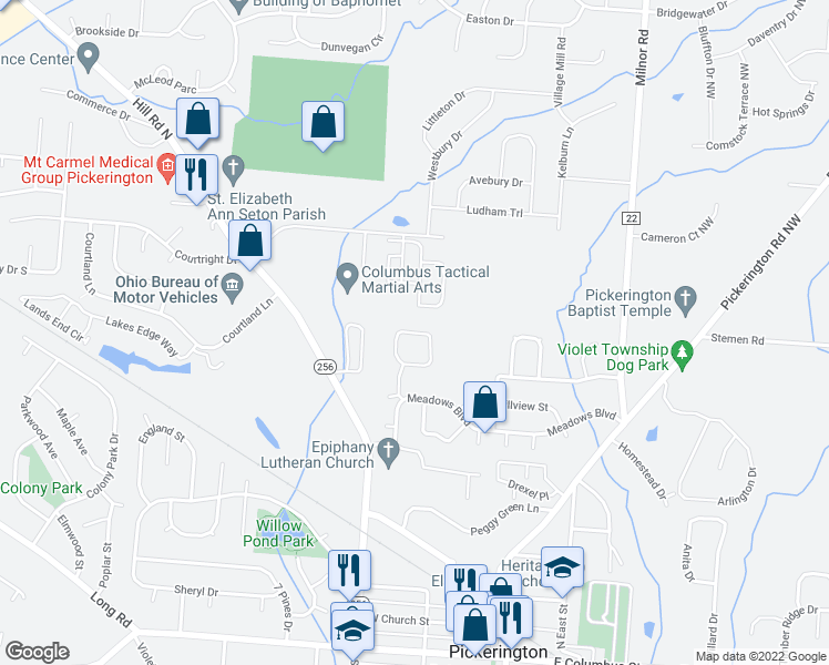map of restaurants, bars, coffee shops, grocery stores, and more near Jamie Lynn Circle in Pickerington