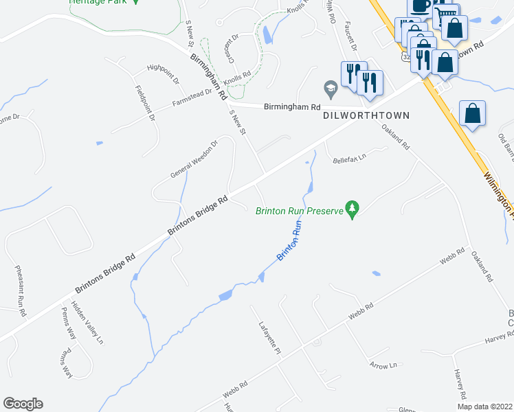 map of restaurants, bars, coffee shops, grocery stores, and more near 565 Winturford Drive in West Chester