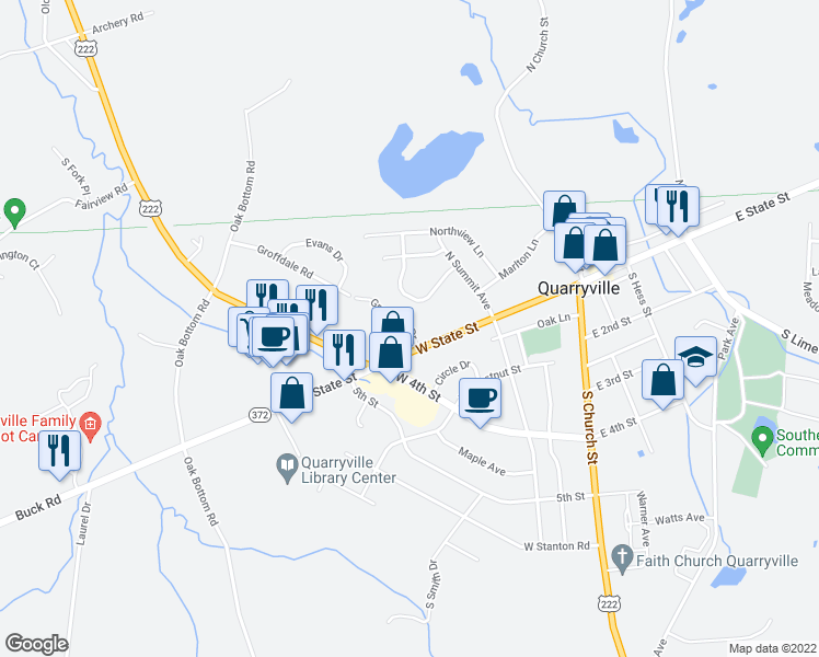 map of restaurants, bars, coffee shops, grocery stores, and more near Groffdale Drive in Quarryville