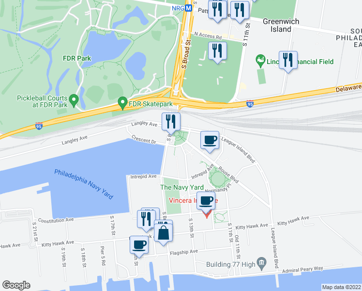 map of restaurants, bars, coffee shops, grocery stores, and more near Crescent Drive in Philadelphia
