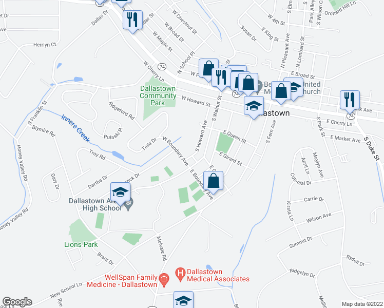 map of restaurants, bars, coffee shops, grocery stores, and more near 310 South Howard Avenue in Dallastown