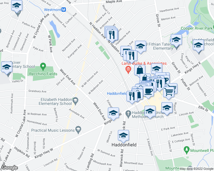 map of restaurants, bars, coffee shops, grocery stores, and more near 43 Trueman Avenue in Haddonfield