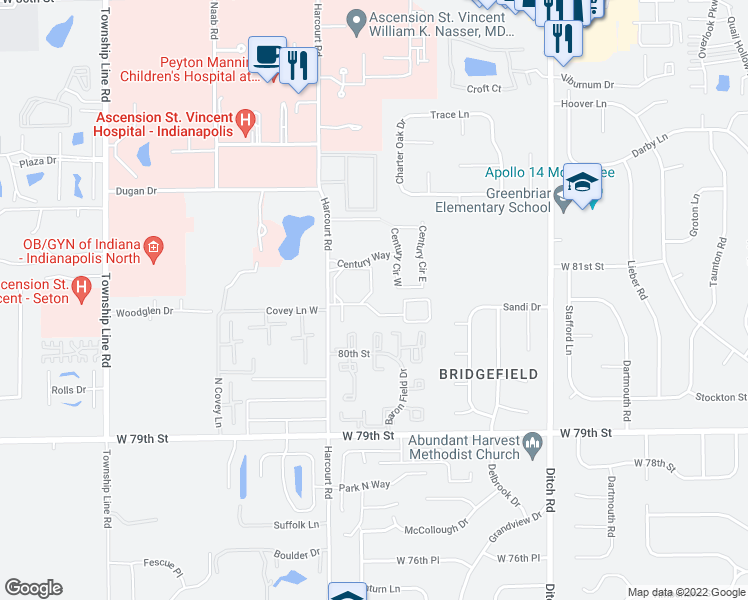 map of restaurants, bars, coffee shops, grocery stores, and more near 8101 Laguna Dr in Indianapolis