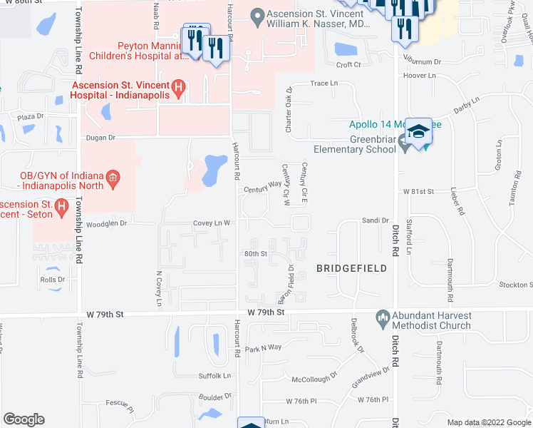 map of restaurants, bars, coffee shops, grocery stores, and more near 8101 Laguna Drive in Indianapolis