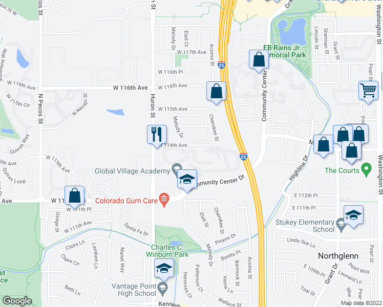 map of restaurants, bars, coffee shops, grocery stores, and more near 400-410 West 114th Avenue in Northglenn