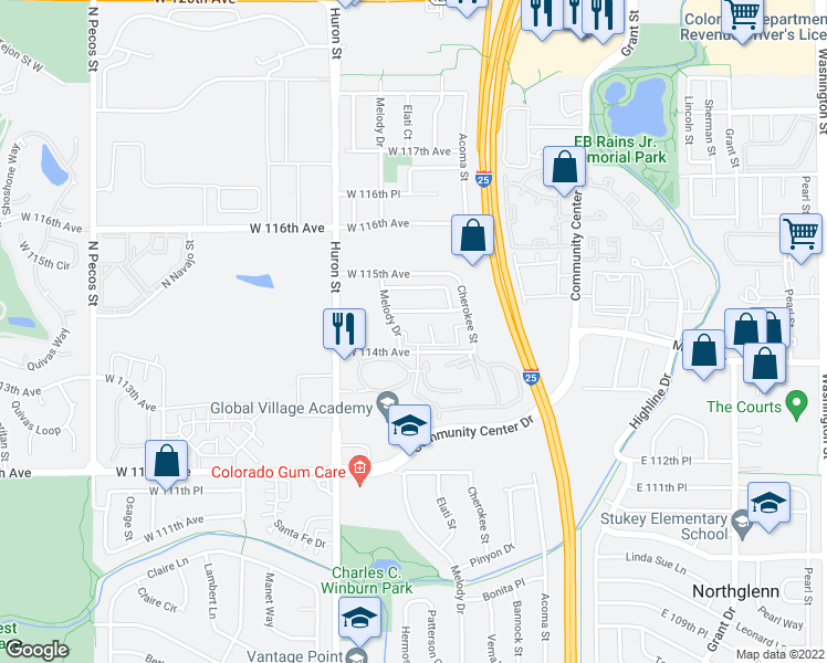 map of restaurants, bars, coffee shops, grocery stores, and more near 11450 Melody Drive in Northglenn
