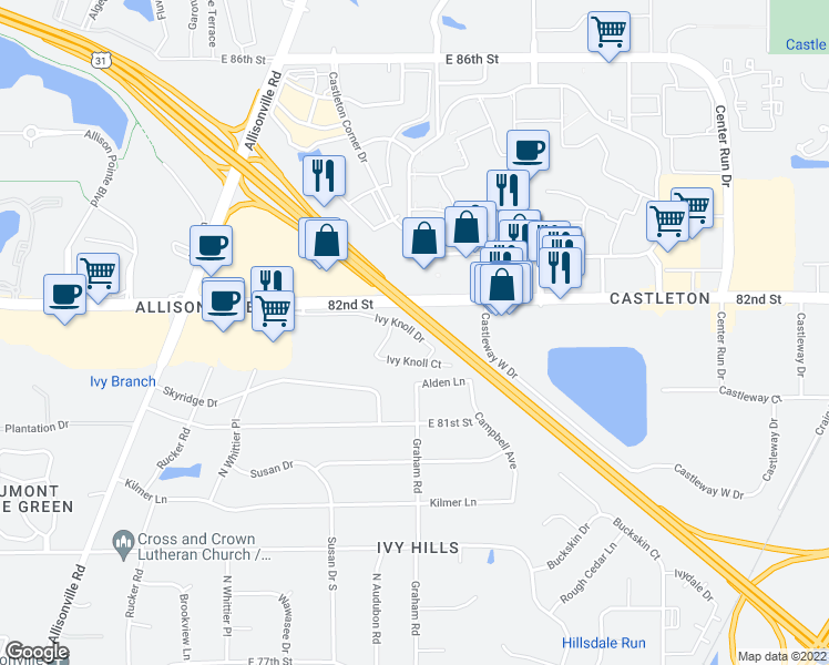 map of restaurants, bars, coffee shops, grocery stores, and more near 5700-5826 Ivy Knoll Drive in Indianapolis