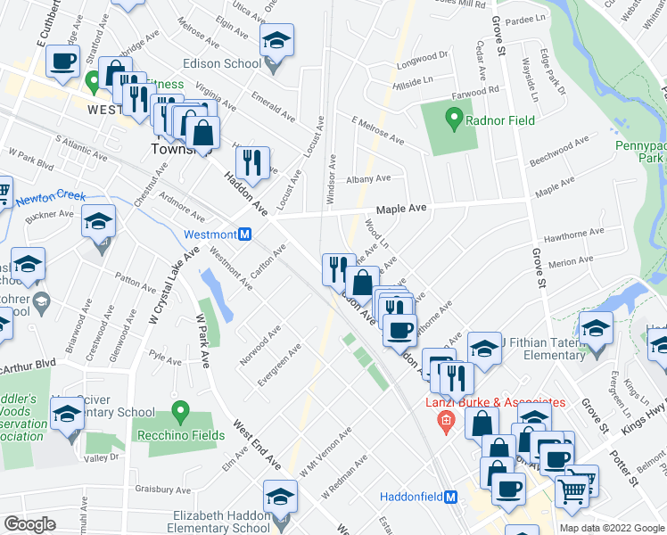 map of restaurants, bars, coffee shops, grocery stores, and more near 807 North Haddon Avenue in Haddonfield