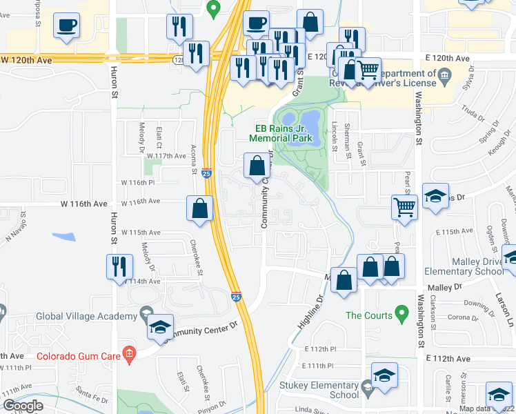 map of restaurants, bars, coffee shops, grocery stores, and more near 11625 Community Center Drive in Northglenn