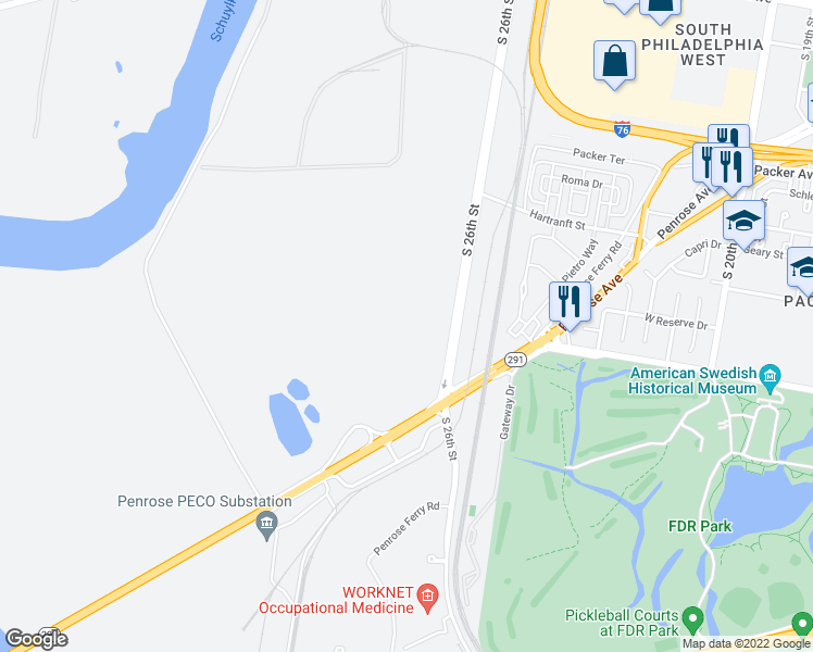 map of restaurants, bars, coffee shops, grocery stores, and more near in Tinicum Township