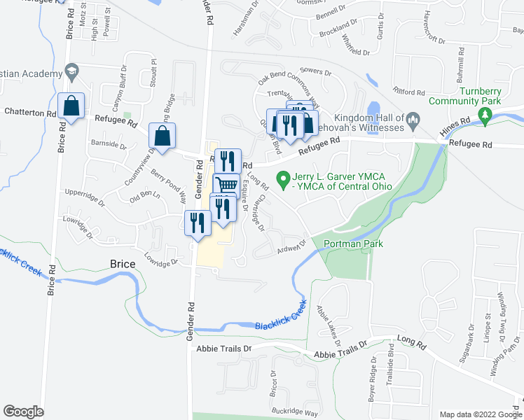map of restaurants, bars, coffee shops, grocery stores, and more near 3637-3661 Chartridge Drive in Canal Winchester