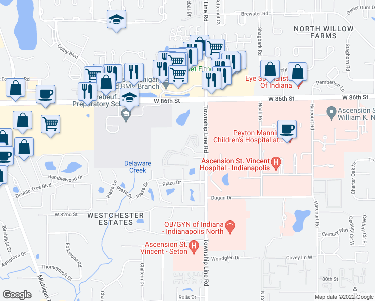 map of restaurants, bars, coffee shops, grocery stores, and more near 2520 Summer Drive in Indianapolis